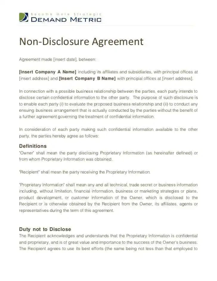 Non Disclosure Agreement Template For Business | Business