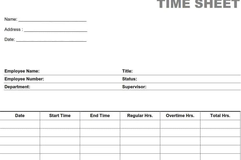 Top 5 Free Time Sheet Templates - Word Templates, Excel Templates - printable employee time sheet