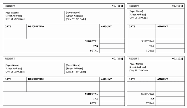 Top 4 Layouts For Bill Receipt Templates - Word Templates, Excel