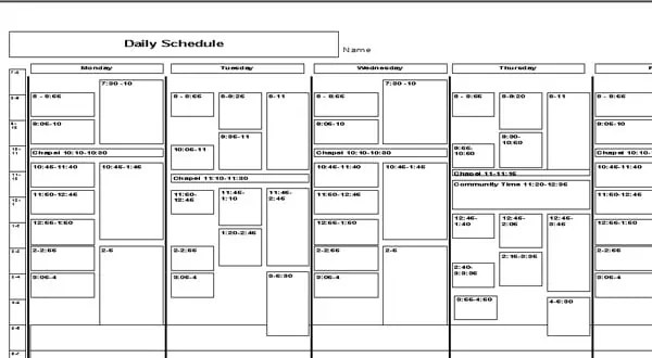 daily schedule word template