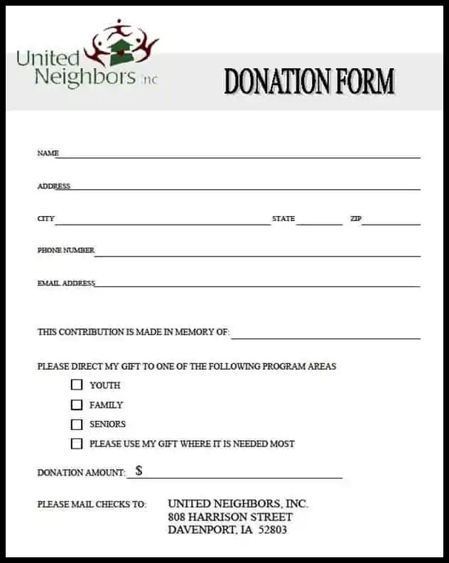 donation forms samples