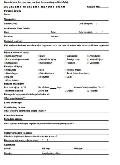 what is incident report form - Towerssconstruction