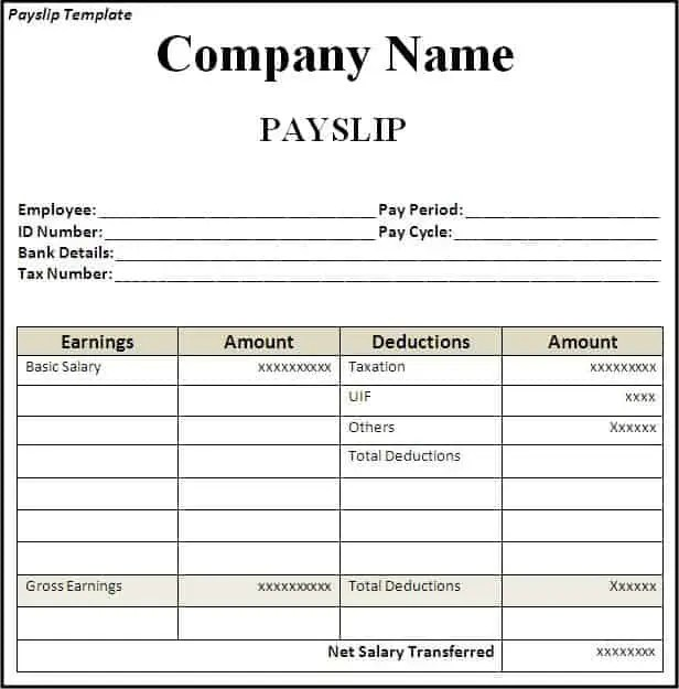 Doc Payslip Sample Word Format Doc603576 Payslip in Word – Payslip Sample Word Format