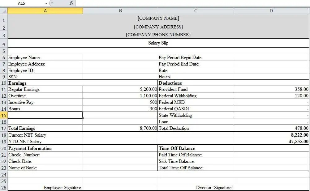 Top 5 Free Payslip Templates - Word Templates, Excel Templates - payslip template in excel