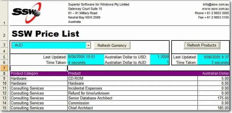 Price List template - vheo