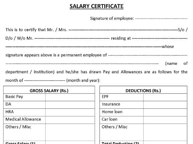 Top 5 Resources To Get Free Salary Certificate Templates - Word - certificate template doc