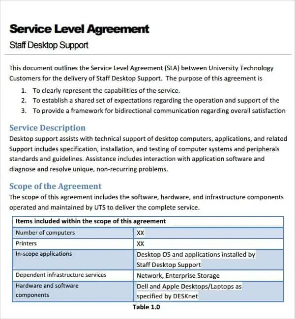 Top 5 Resources To Get Free Service Level Agreement Templates - it service agreement template