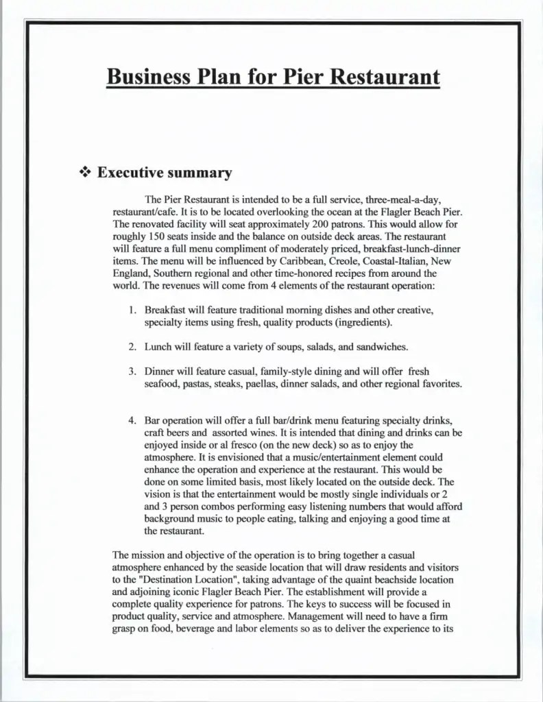 Free business plan report – Writing Executive Summary Template