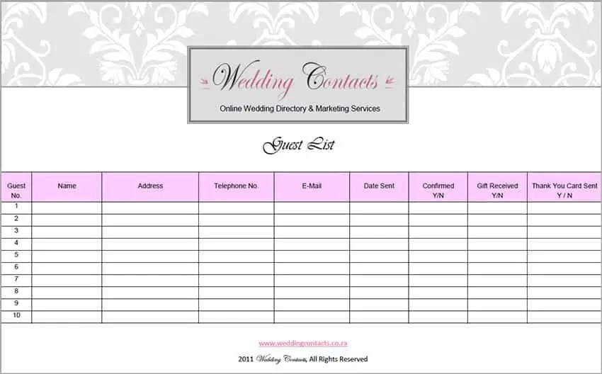 Top 5 Resources To Get Free Wedding Guest List Templates - Word - guest list sample