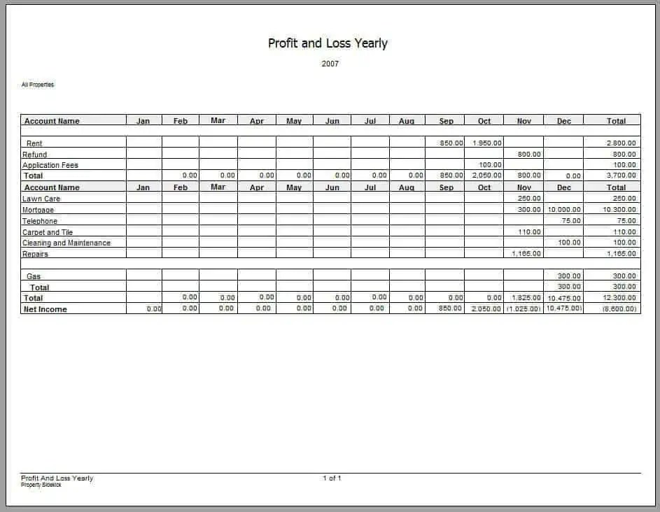 profit and loss statement forms - zrom