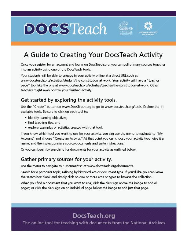 Activity-Creation Guide DocsTeach