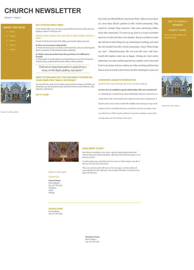 Free Church Newsletter Templates - Editable in Microsoft® Word - church newsletter