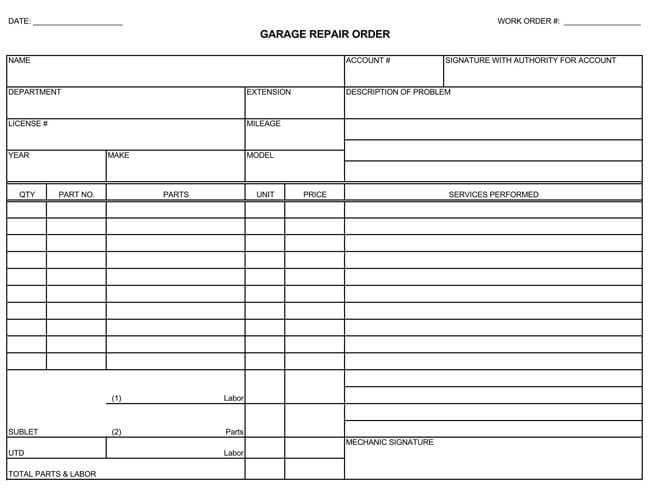 Auto Repair Invoice Templates - 10+ Printable and Fillable Formats - auto repair invoice template