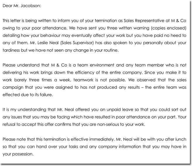 12+ Employee Termination Letter Samples \ Templates - employee termination letter