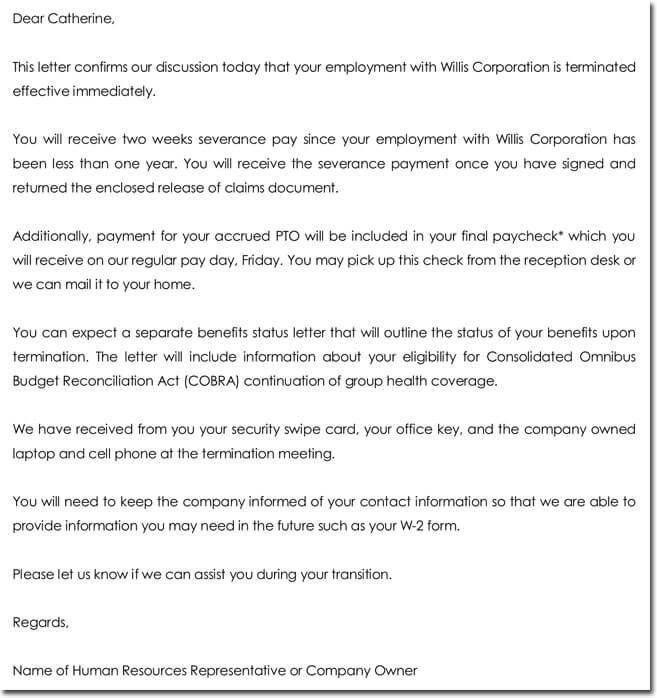 28+ Samples of Termination Letter Templates \ Formats - job termination letter
