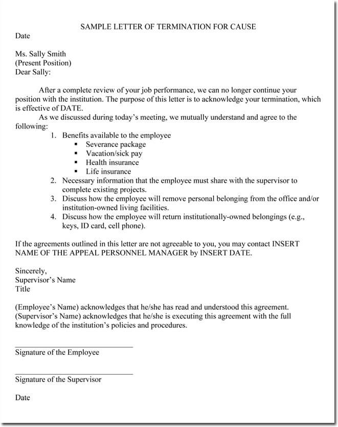 Job Termination Letters for Cause \ Without Cause Sample - job termination letter