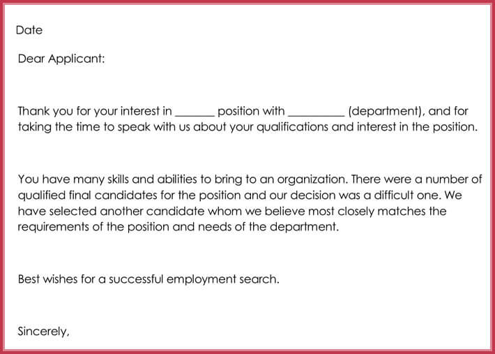 Rejection Letter - Resume Template Sample