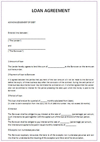 personal loan agreement template microsoft word