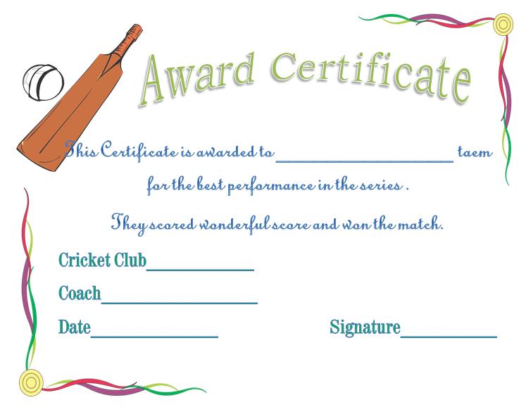 word award certificate templates