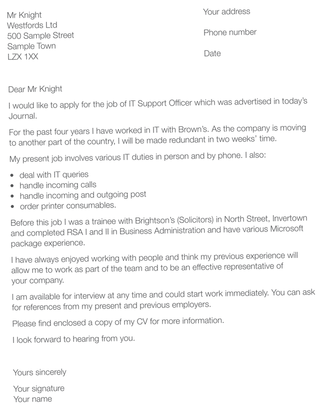 sample of cv cover letter