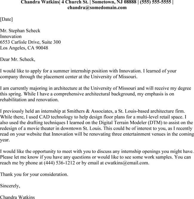 Internship Cover Letter - 5+ Professional Samples  Formats