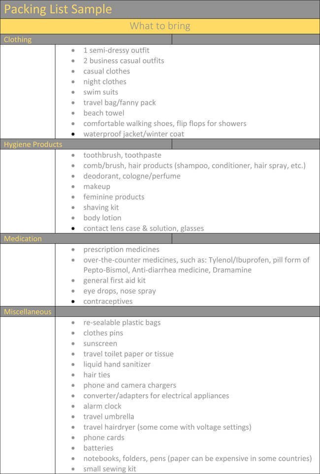 Packing List Template \u2013 Holiday, Travel Packing Lists in Word  Excel