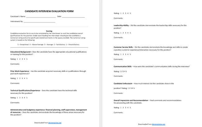 interview evaluation form for managers