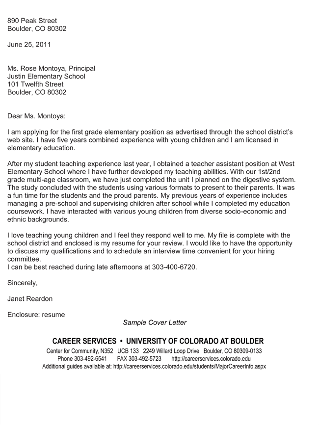 cover letter for teaching