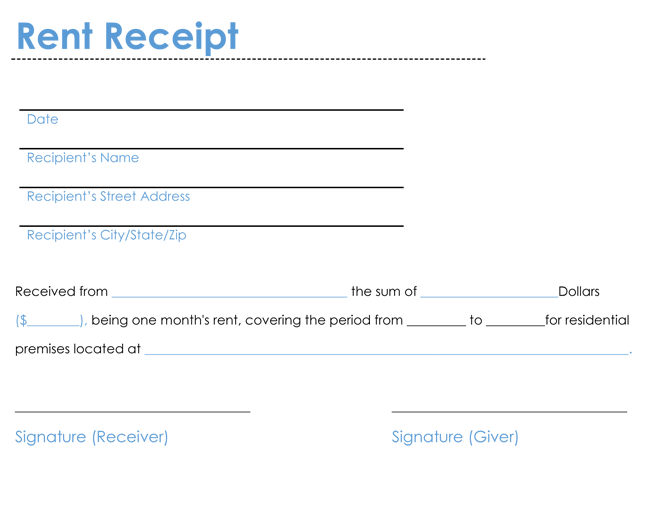 rental receipt format