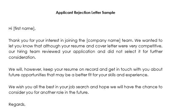 Job Candidate Rejection Letter Samples - 12 Best Formats and Templates