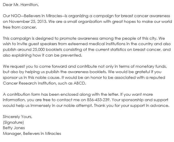 Sponsorship Letter Samples - Write Best Sponsorship Letters - how to create a sponsorship letter