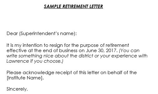 Retirement Letter Samples - 9+ Formats  Retirement Letter Writing Guide