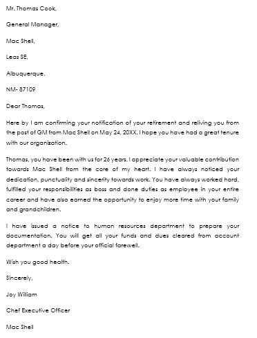 retirement notice