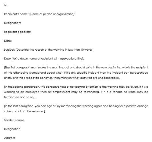 Warning Letter Templates - 20+ Sample  Formats for HR Warnings