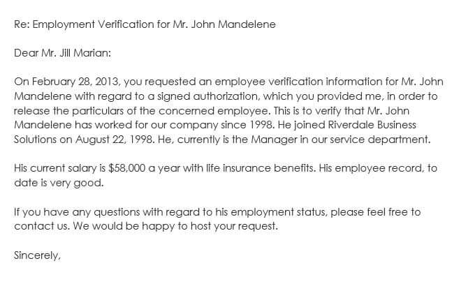 Sample Employment Verification Request Letters  Replies - Job Verification Letter