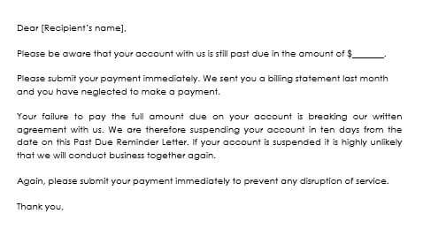 Sample Overdue Payment Reminder Letters