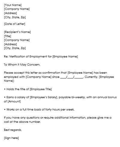 Sample Employment Verification Request Letters  Replies - proof of employment template