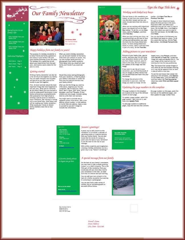 christmas newsletter word template