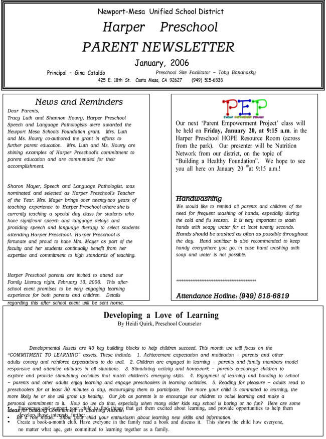 16+ Preschool Newsletter Templates - Easily Editable and Printable