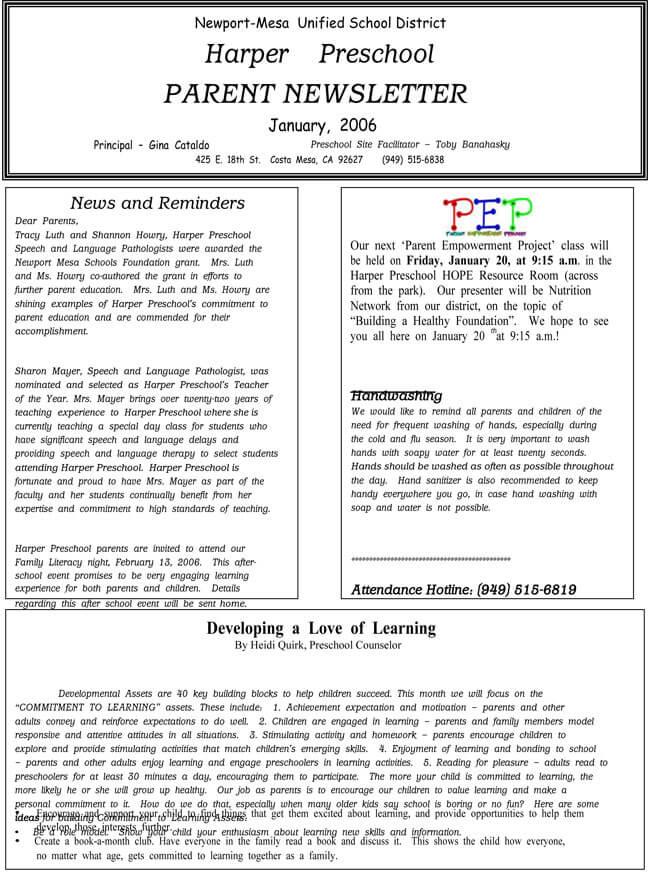 parent newsletter templates
