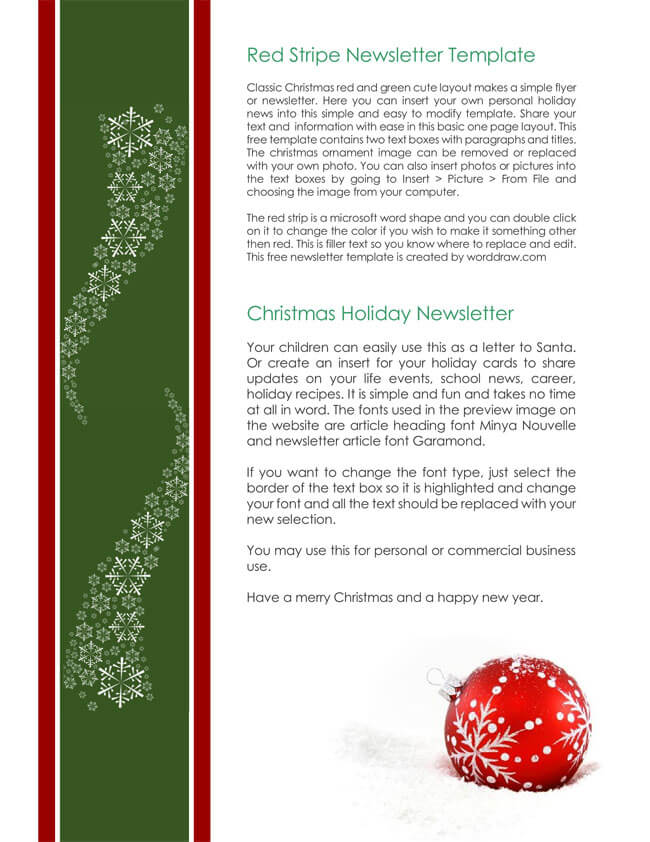 9+ Christmas Newsletter Templates to Create Printable and E-Newsletters