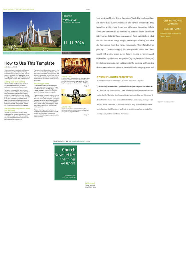 Free Church Newsletter Templates - Editable in Microsoft® Word - free newsletter templates for word