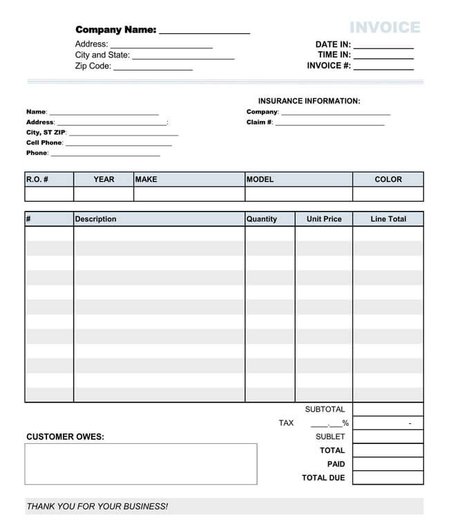 Auto Repair Invoice Templates - 10+ Printable and Fillable Formats - auto invoice template