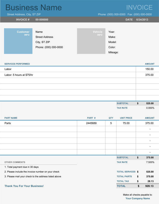 Auto Repair Invoice Templates - 10+ Printable and Fillable Formats - invoice excel template