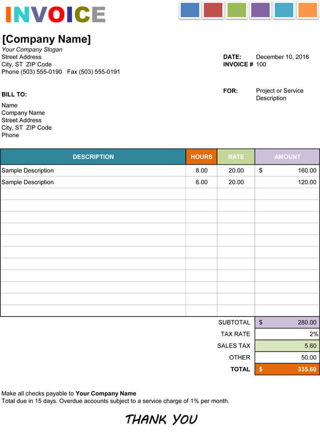 15+ Hourly Service Invoice Templates in Excel, Word and PDF