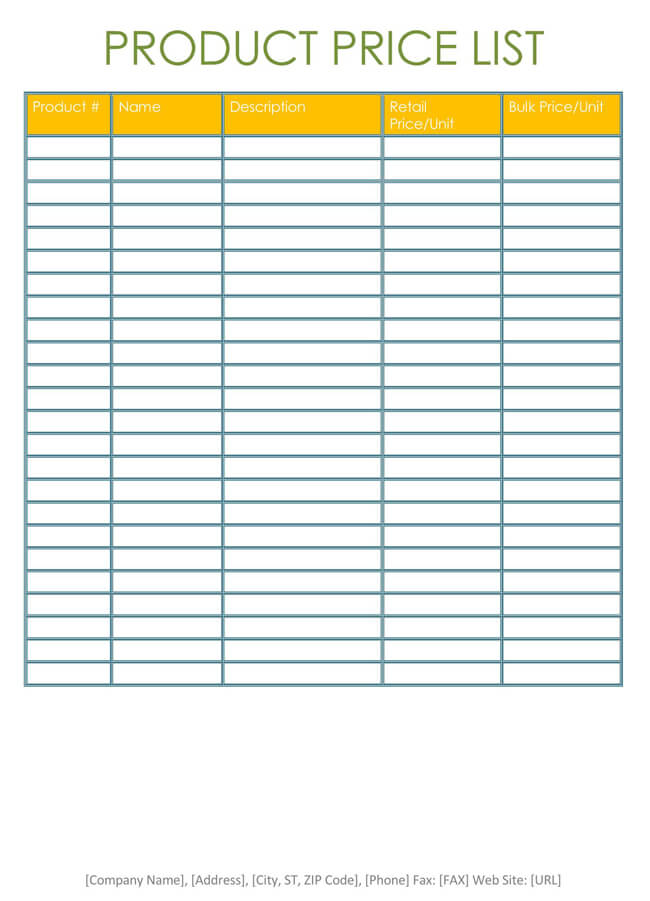 Price List Templates - Free Samples and Formats for Excel  Word