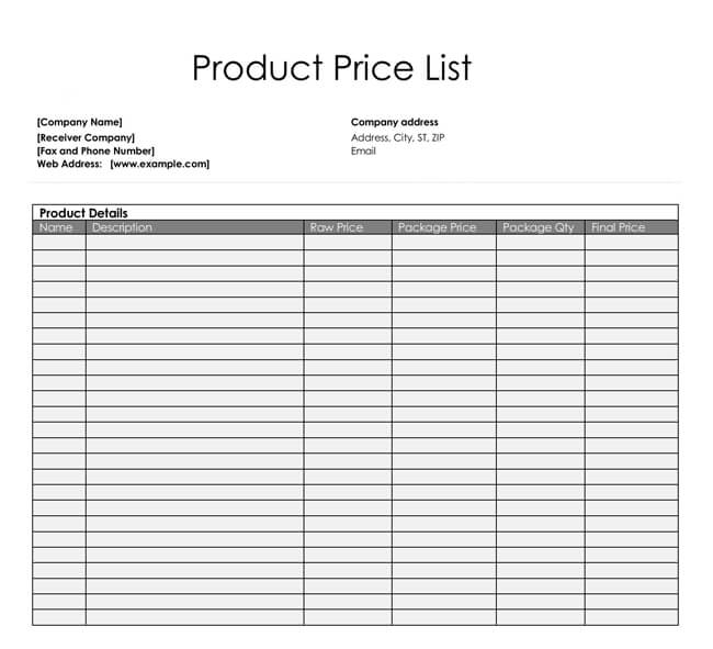 Price List Templates - Free Samples and Formats for Excel  Word - list template free