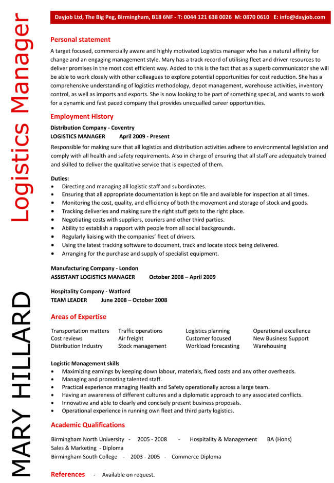 Free Printable Logistics Manager CV Examples