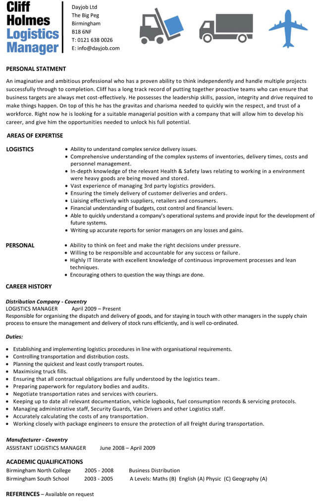 resume templates for logistics manager