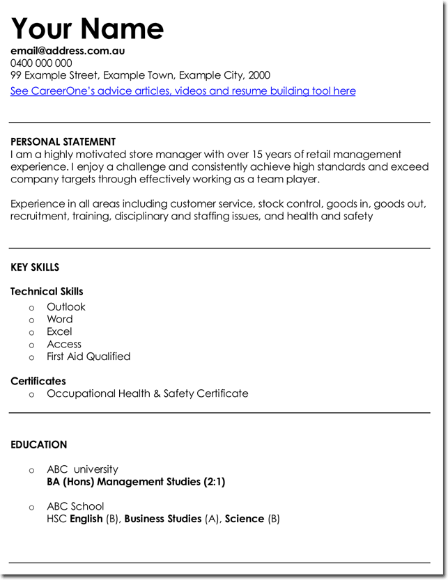 resume template for management jobs